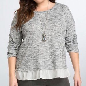 Torrid Knit Ruffle Hem Gray and Black Sweater